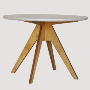 RA0154 Radis table EDI white plate oak legs